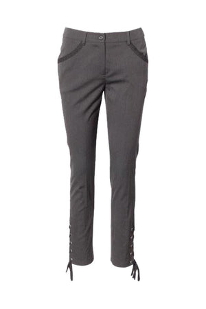 Moschino Womens Side Lace Up Trouser Pants Grey