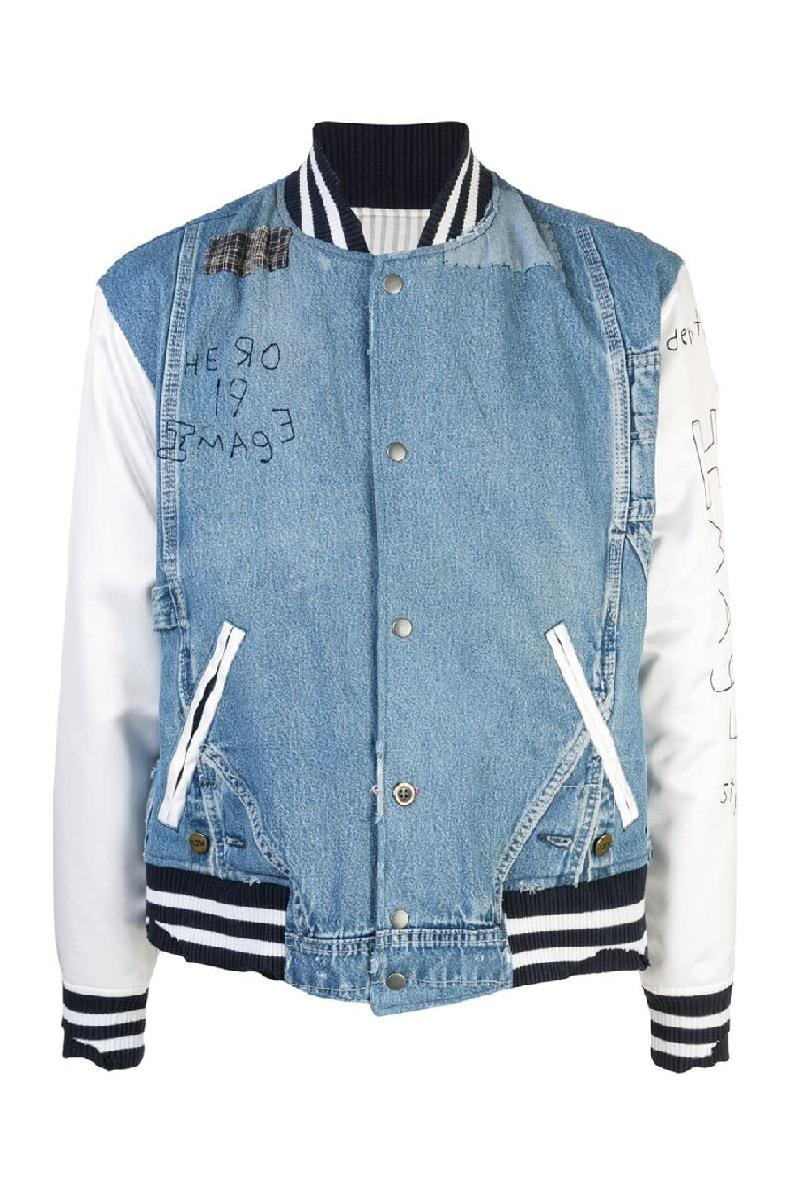 Greg Lauren Womens Denim and Satin Bomber