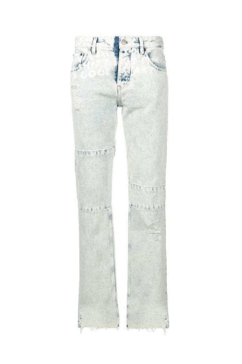 MM6 Womens Distressed Words Jeans Blue