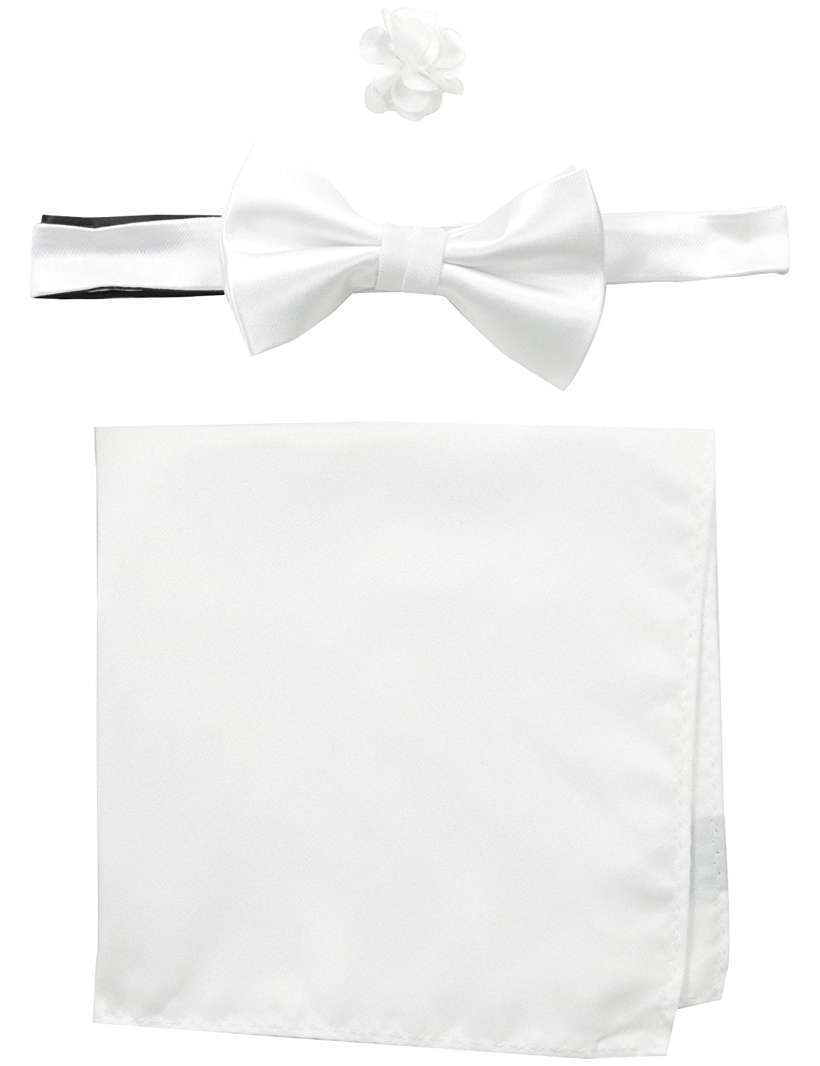 Satin solid Bow Tie with solid Pocket Square and Floral Lapel Pin White