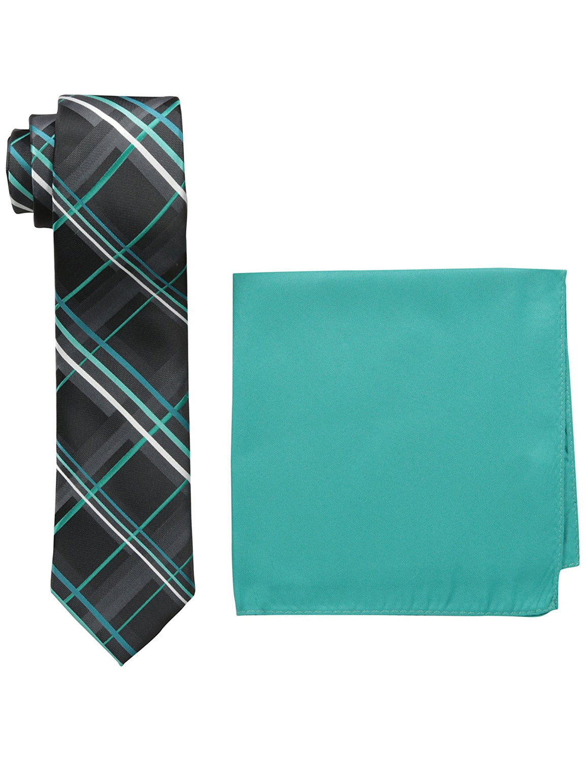 Twill Textured Plaid Neck Tie and Solid Pocket Square