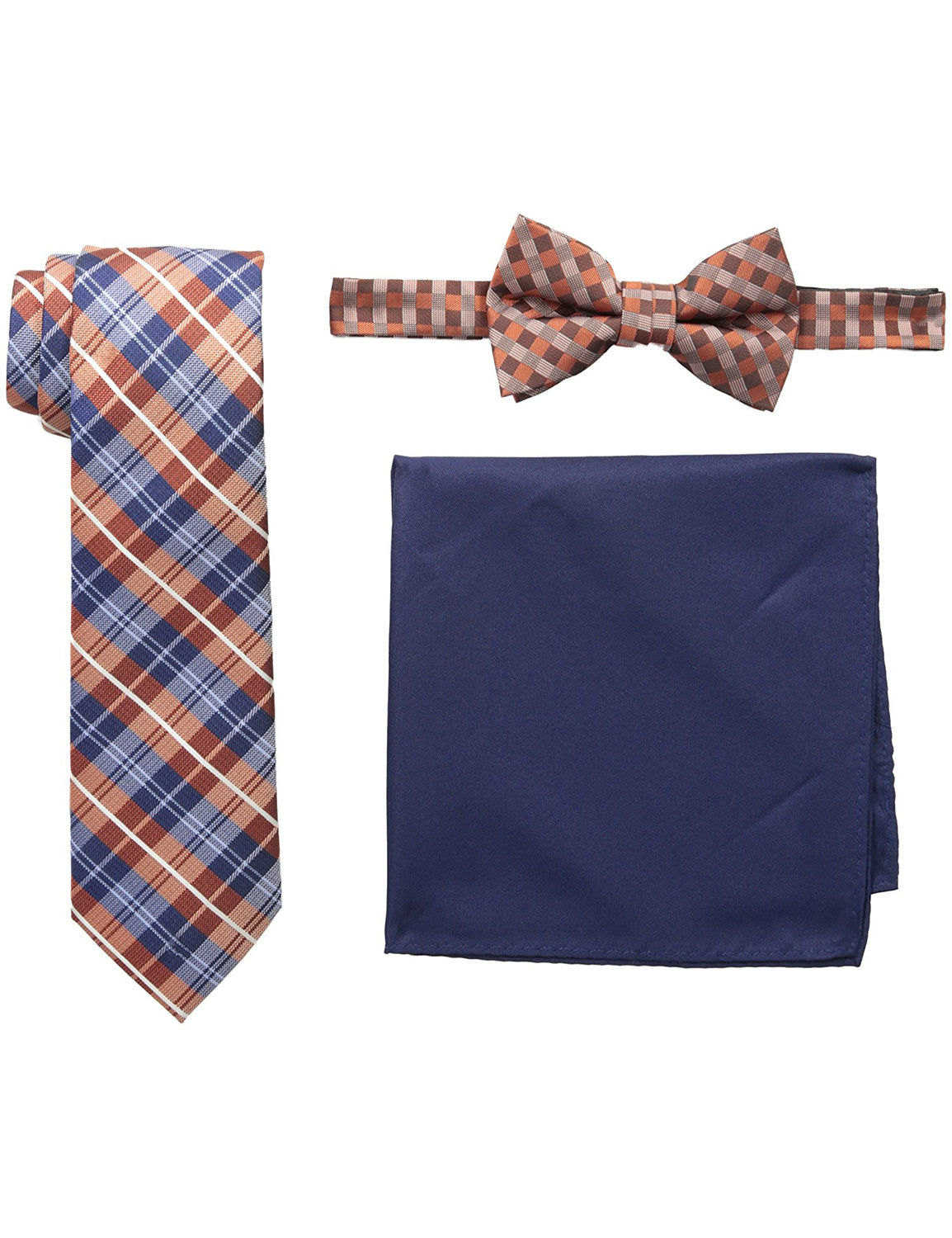 Plaid Neck Tie Gingham Bow Tie and Pocket Square Set