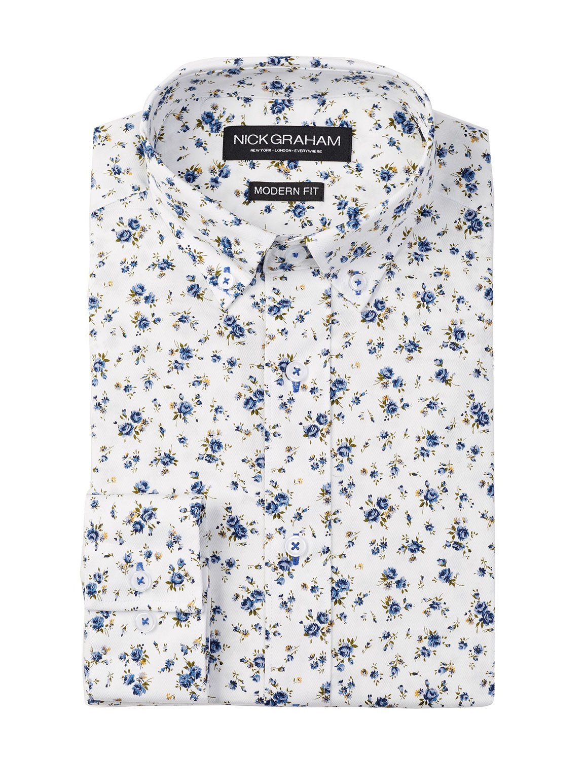 Blue Floral Modern Fit Long Sleeve Dress Shirt