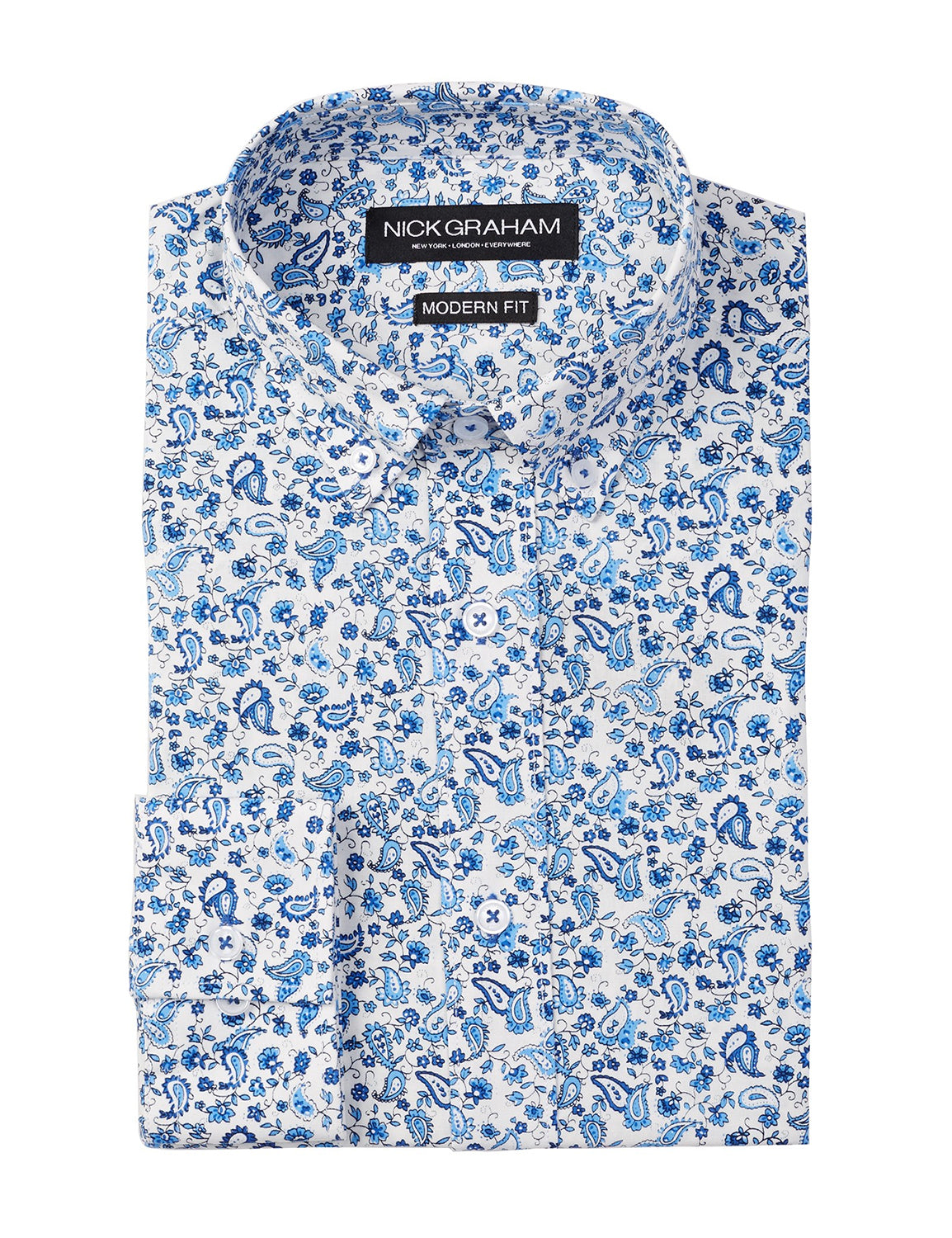 Blue Paisley Modern Fit Long Sleeve Dress Shirt