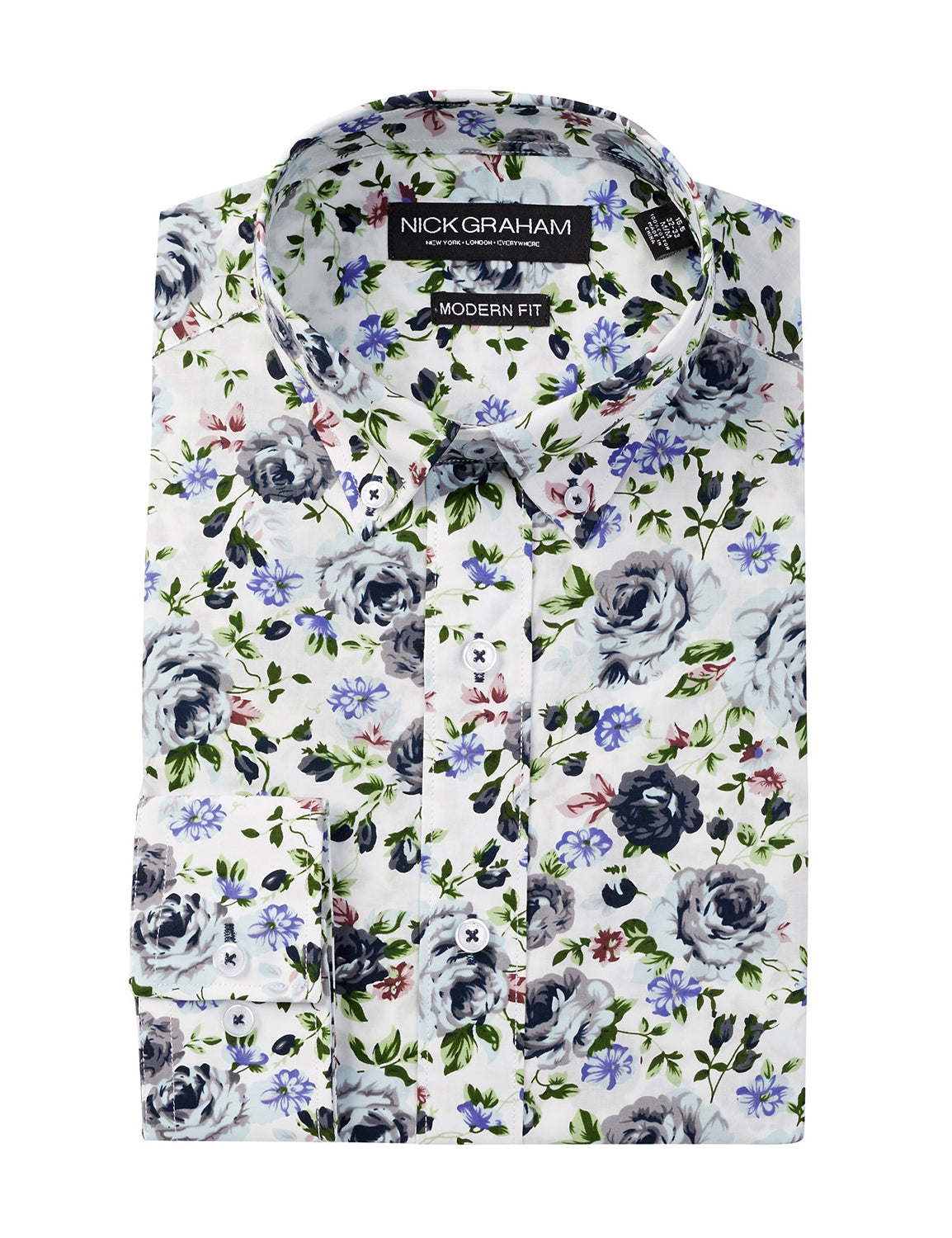 Long Sleeve Modern Fit Floral Dress Shirt