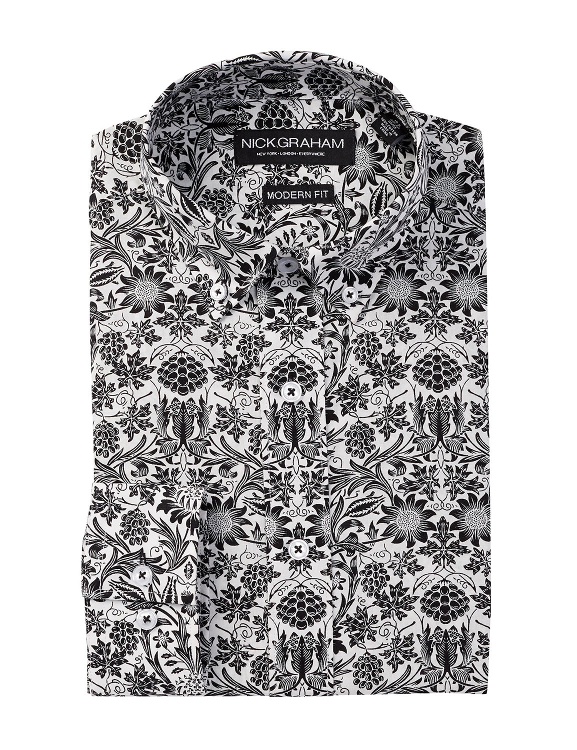 Long Sleeve Modern Fit Hawaiian Floral Dress Shirt