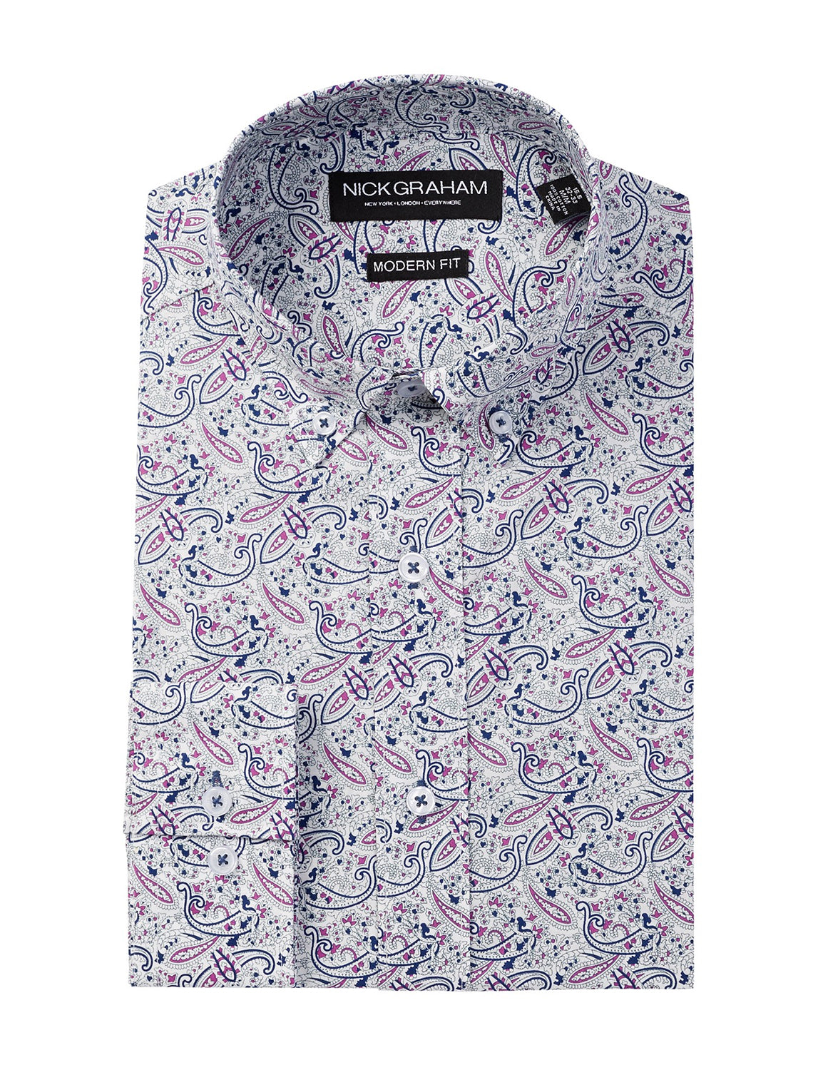 Long Sleeve Modern Fit Paisley Dress Shirt