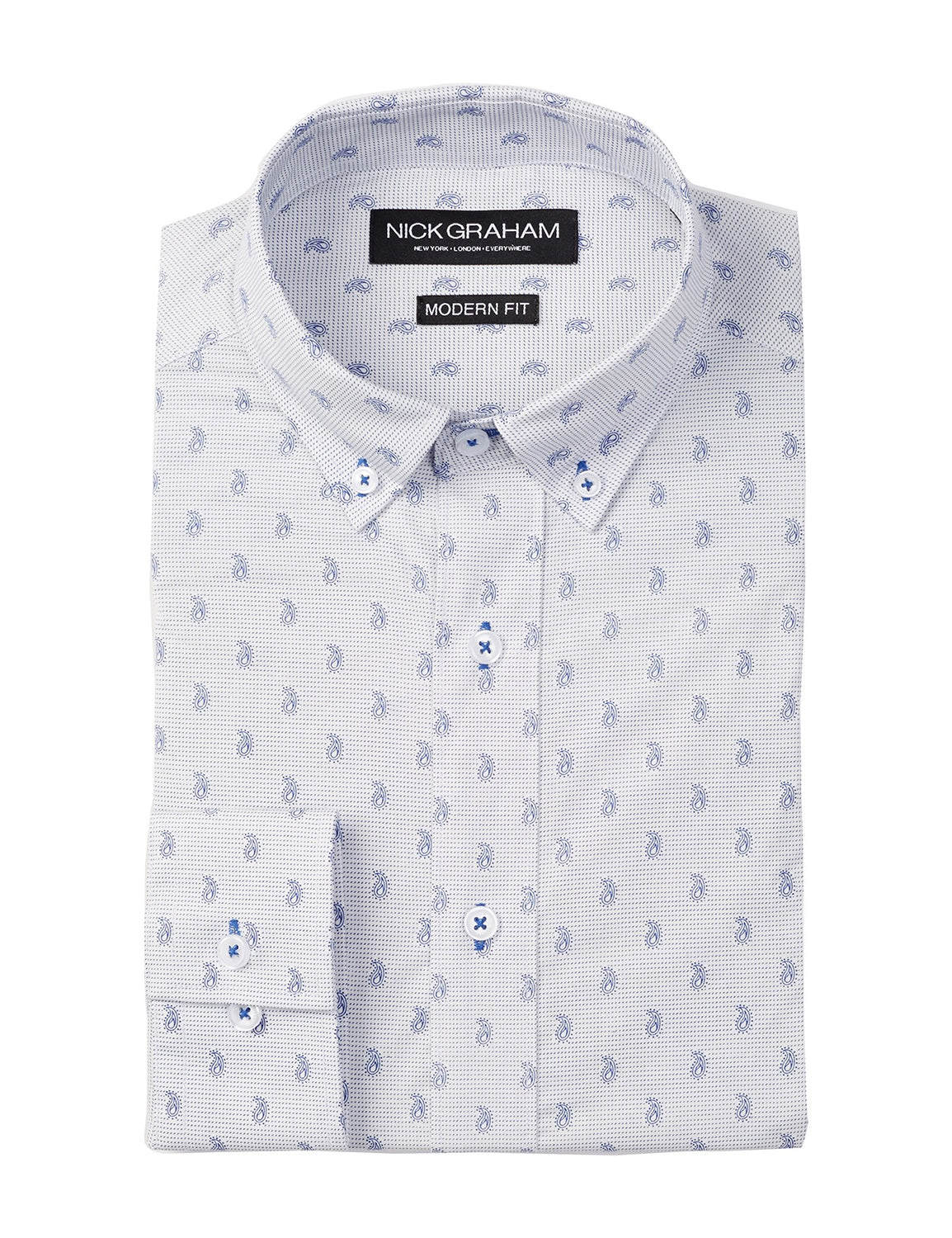 Paisley Dot Modern Fit Long Sleeve Dress Shirt