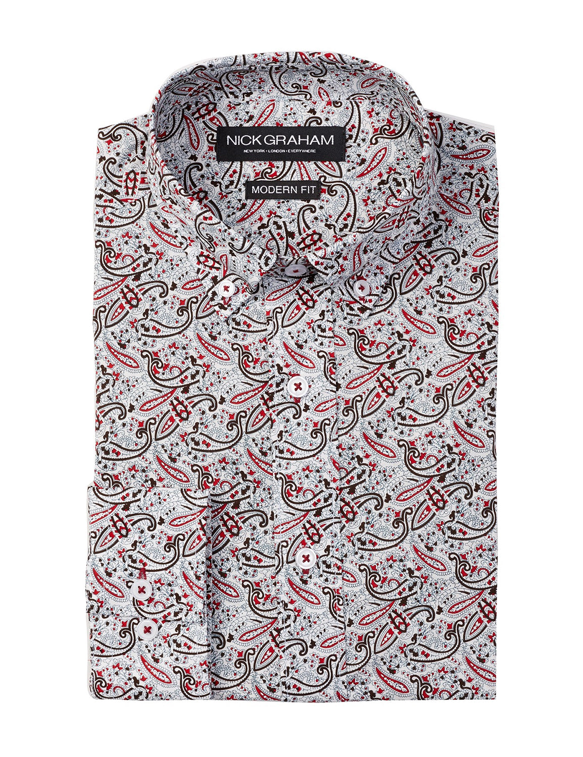 Red Paisley Modern Fit Long Sleeve Dress Shirt