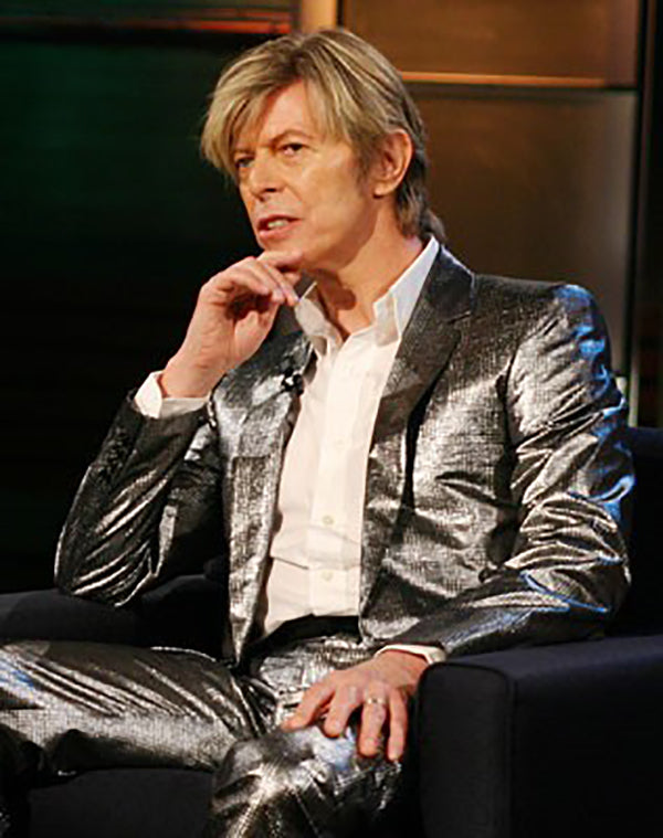 david bowie in shiny silver suit