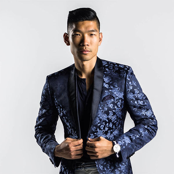 leo chan of levitate style wears a nick graham blue jacquard tuxedo jacket