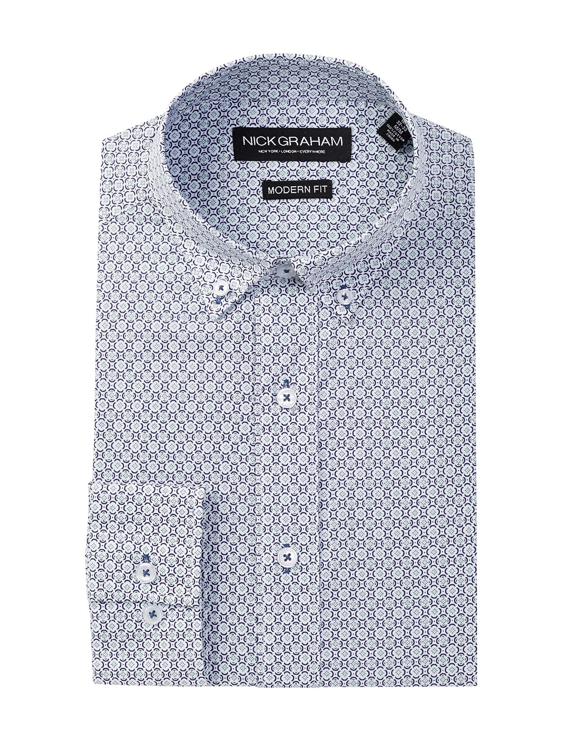 Long Sleeve Modern Fit Printed Dress Shirt