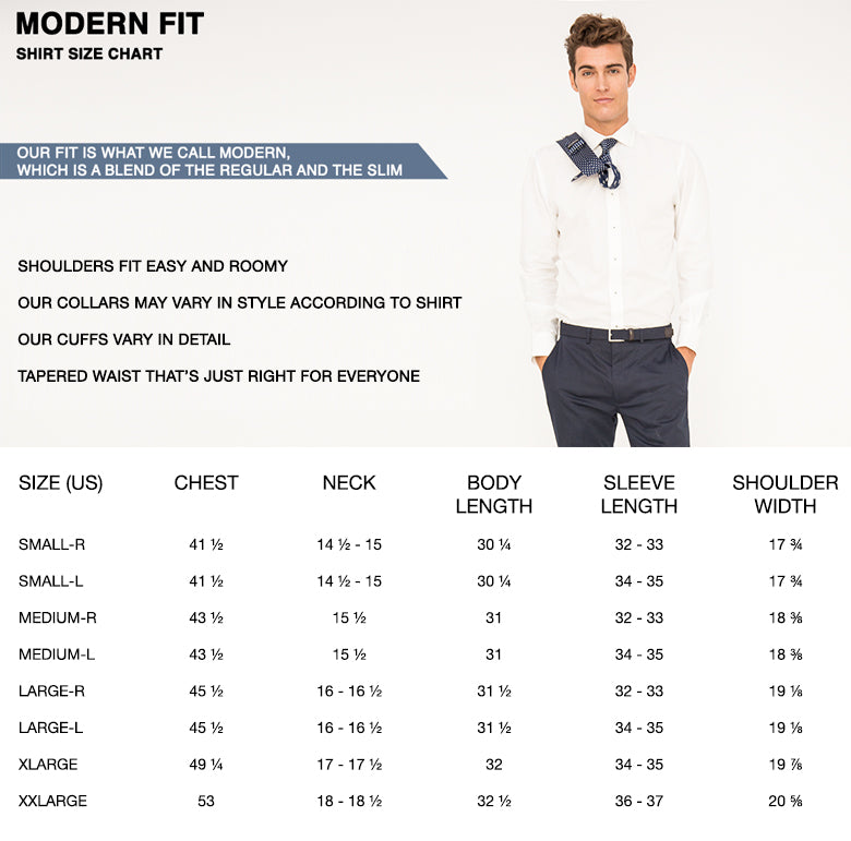 modern fit shirt size chart