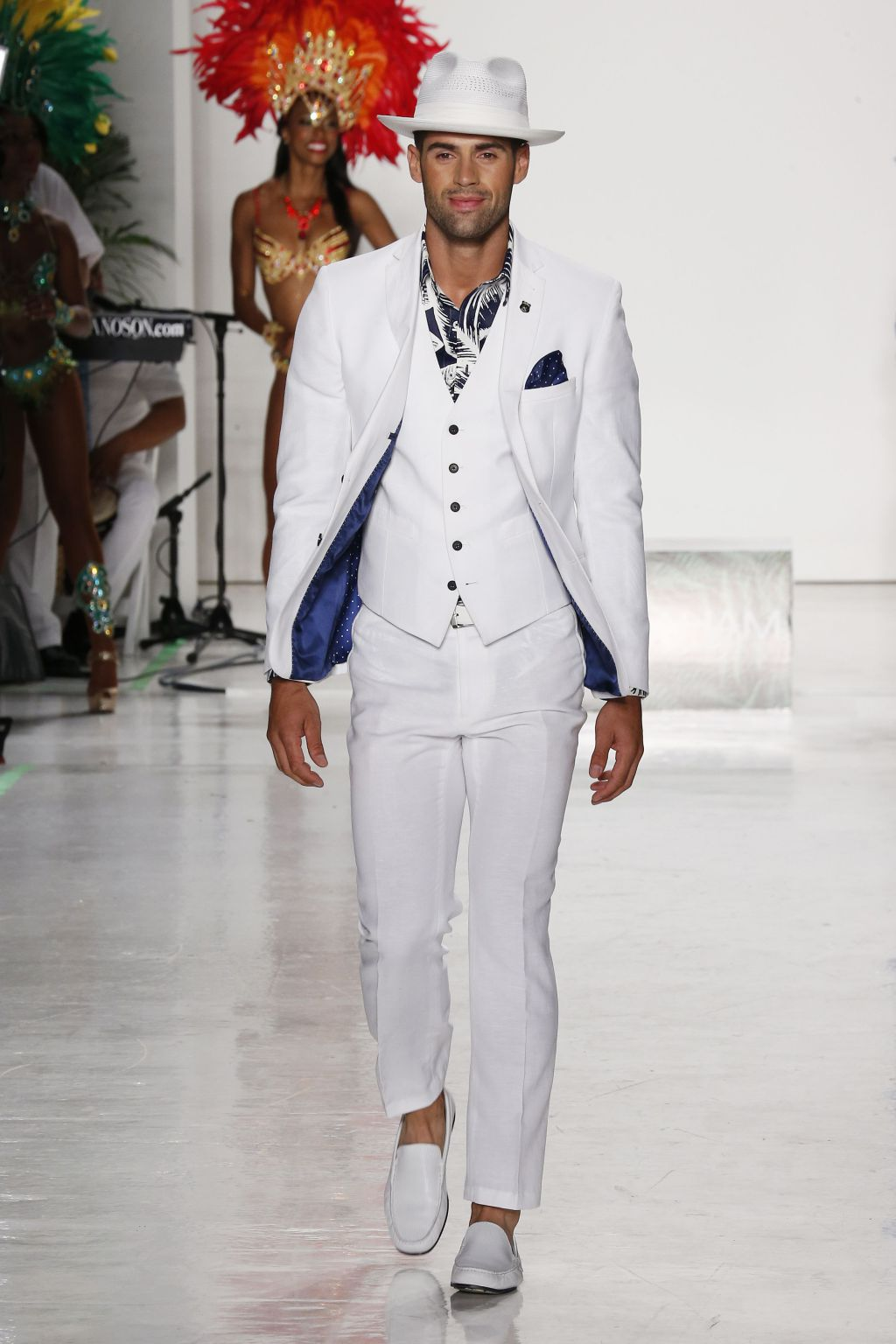 chad white male model walks runway for nick graham