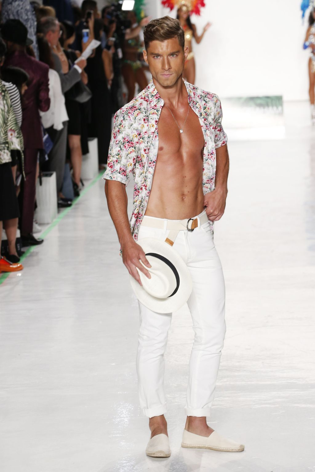 Male model Andre Ziehe walks Nick Graham runway