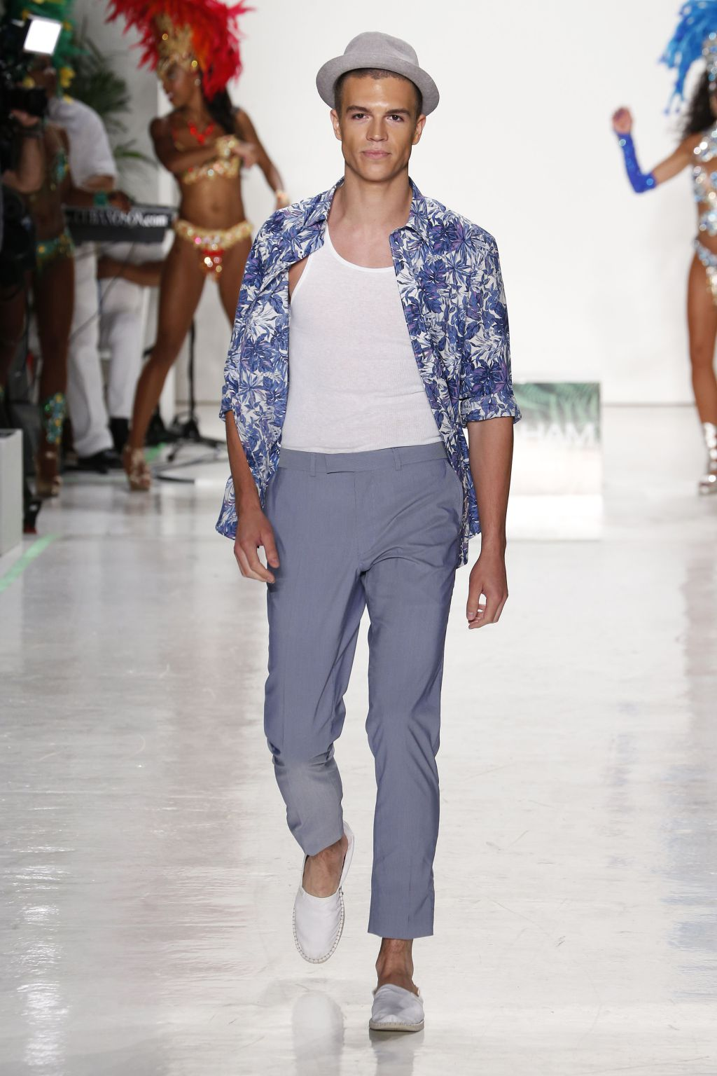 Male model Braeden Wright walks Nick Graham runway