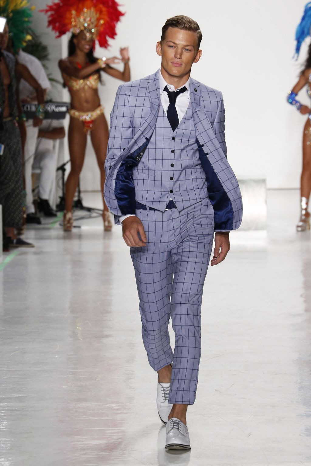 male model sebastian sauve walks nick graham runway