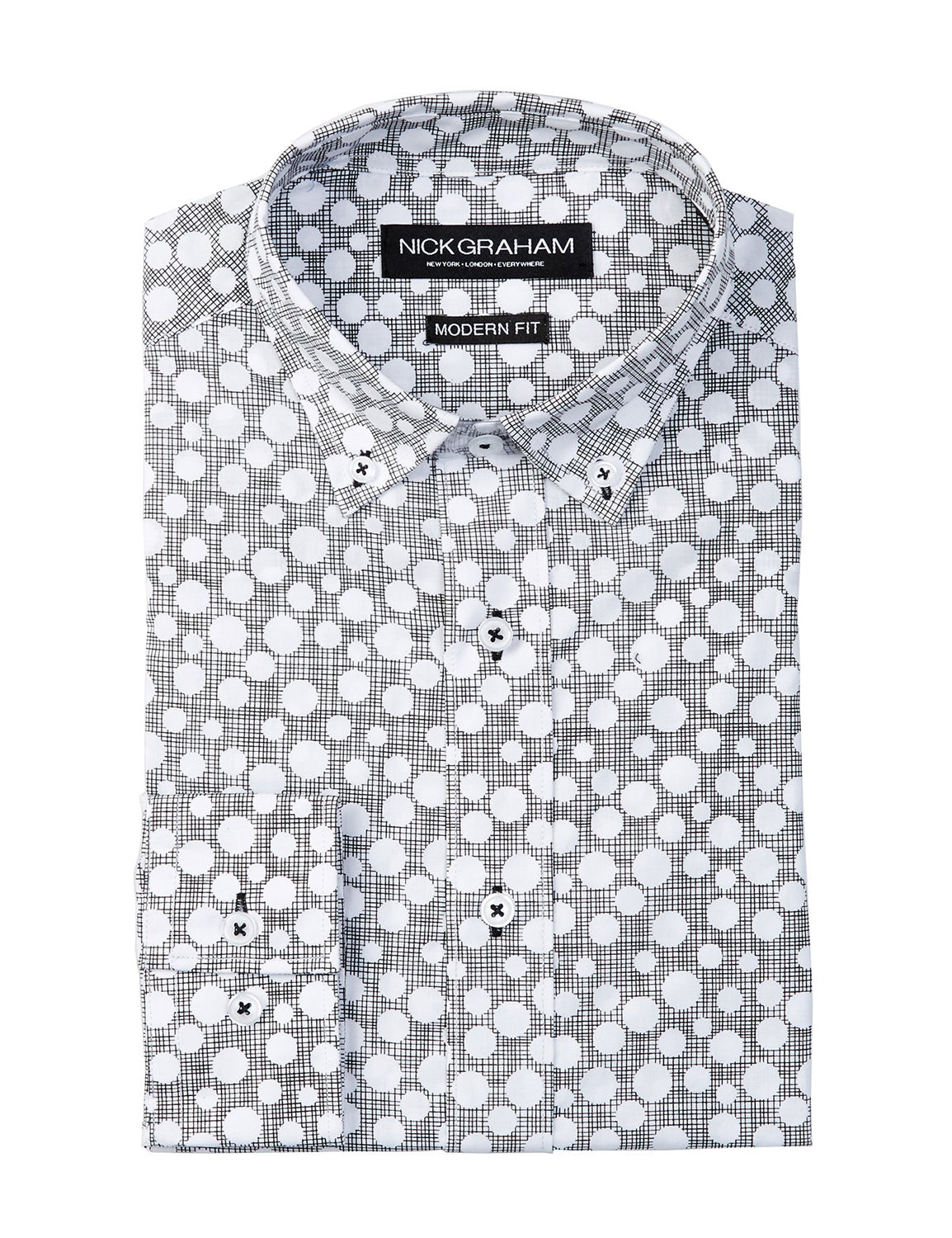 Nick Graham Reverse Dot Dress Shirt