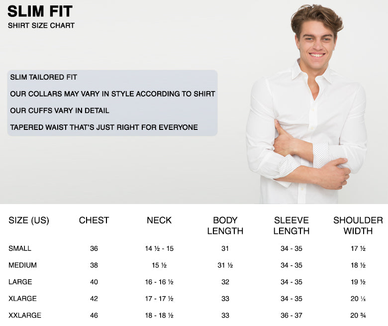 slim fit mens shirt size chart