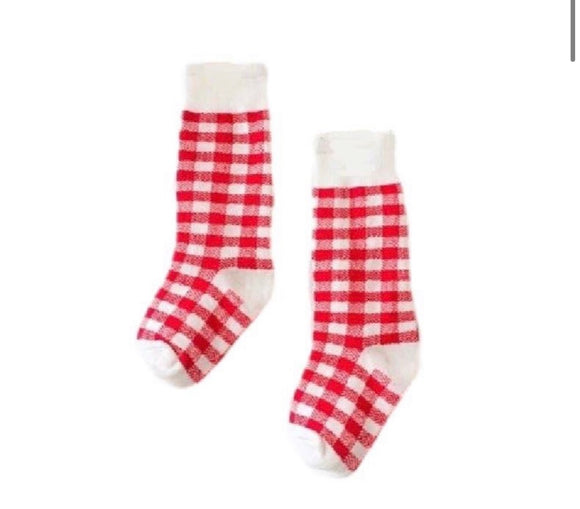 Knee High Socks - Red Gingham