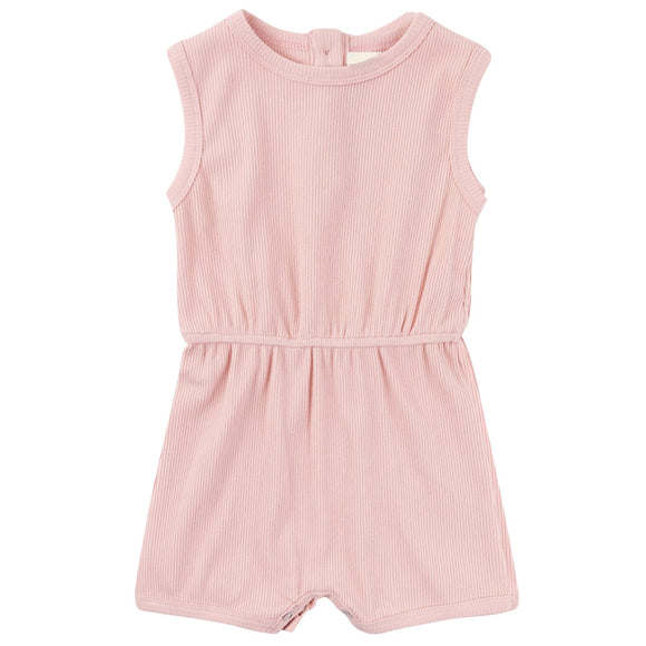 Ribbed Cotton Romper - Rose