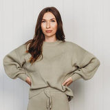 Womans Organic Rib Knit Sweater - Sage - PREORDER