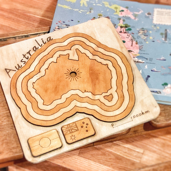 Australia - A Wooden Country, State And Animal Puzzle