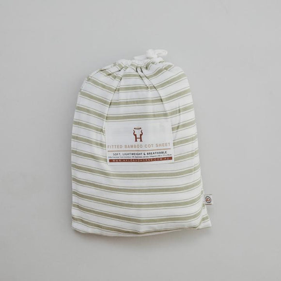 Bamboo fitted cot sheet - Sage Stripe