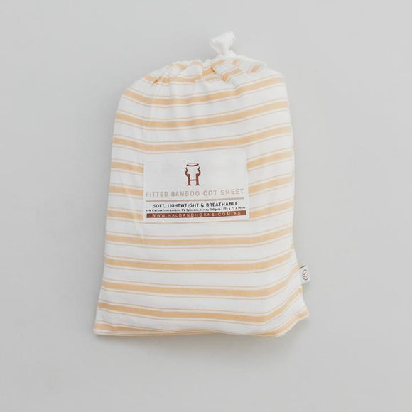 Bamboo fitted cot sheet - Wheat stripe