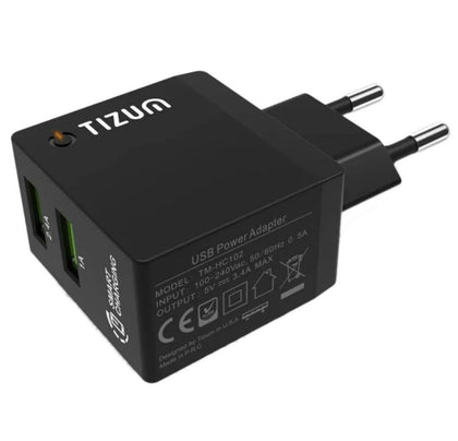 Tizum 3.4 Amp Dual USB Wall Charging Adapter (TM-HC-102) - E MIRA ROAD