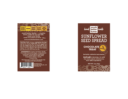 Front & Back of the 1 oz Chocolate Treat sunflower spread grab-n-go
