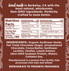 Back label of the Chocolate Treat sunflower spread jar ingredients and Nutritional Facts
