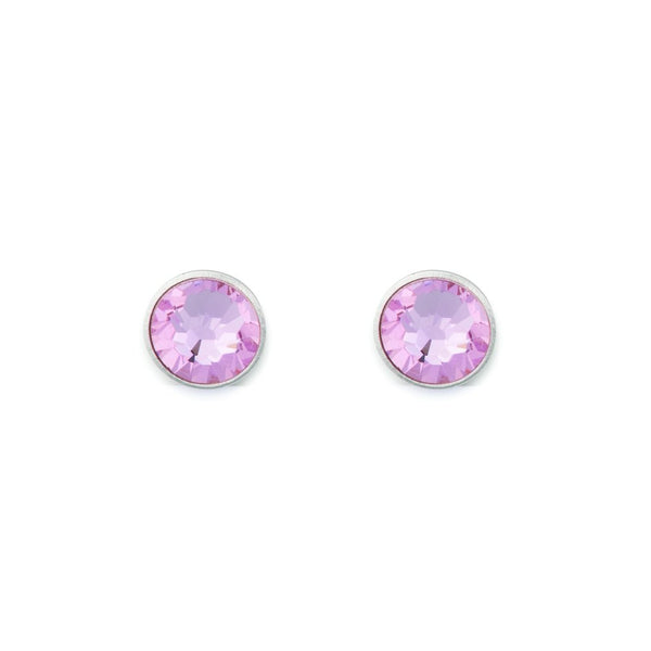 Coeur De Lion Earrings, PINK SWAROVAKI CRYSTAL, RHODIUM PLATED BRASS