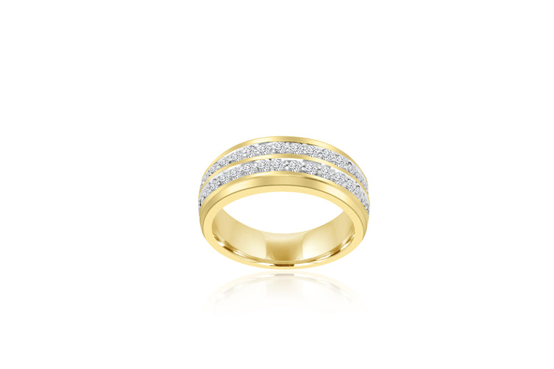 18k Yellow Gold Double Channel Diamond Ring