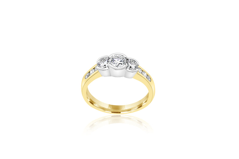 18k Yellow Gold 3-Stone Semi-Bezel Set Diamond Ring