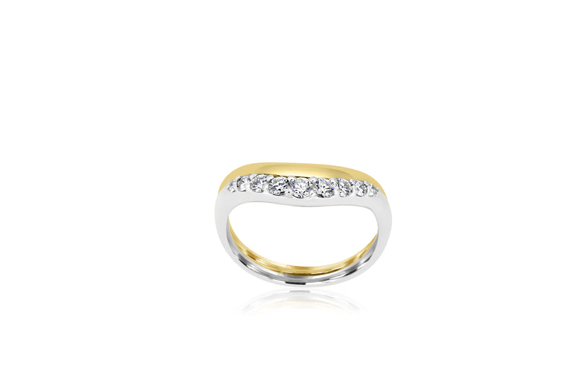 18k Yellow Gold & White Gold 2-tone Wishbone Diamond Ring