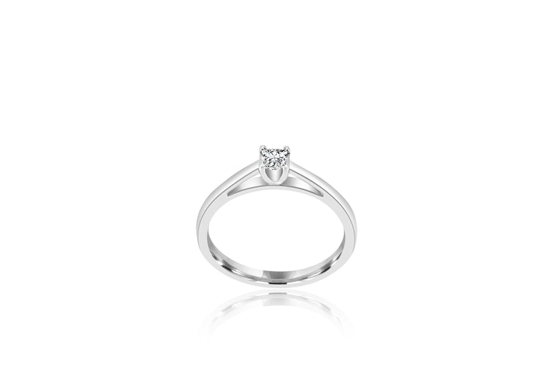18k White Gold Princess Cut Solitaire Diamond Ring