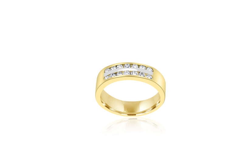 18k Yellow Gold Double Row Channel Set Diamond Ring
