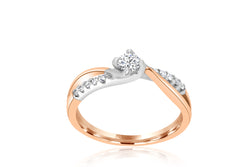 9k Rose Gold / White Gold Diamond Ring