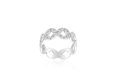 9k White Gold 32x130pcs Diamond Ring