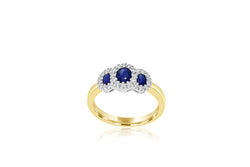 9k Yellow Gold & White Gold 2-tone Tri Oval Sapphire & Diamond Ring