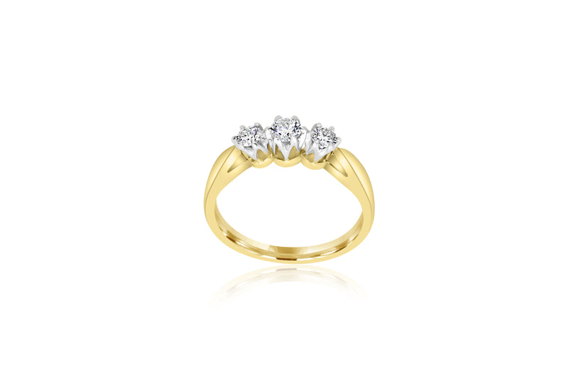 9k White Gold 3-stone Diamond Ring