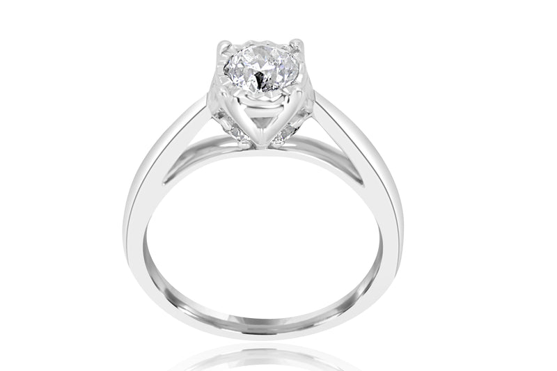 14ct White Gold Solitaire Diamond Ring