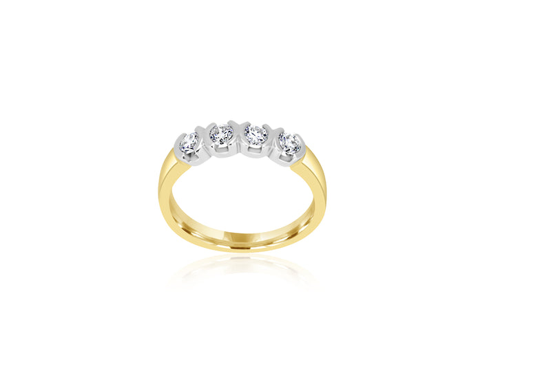 9k 2-tone 4-stone Diamond Ring