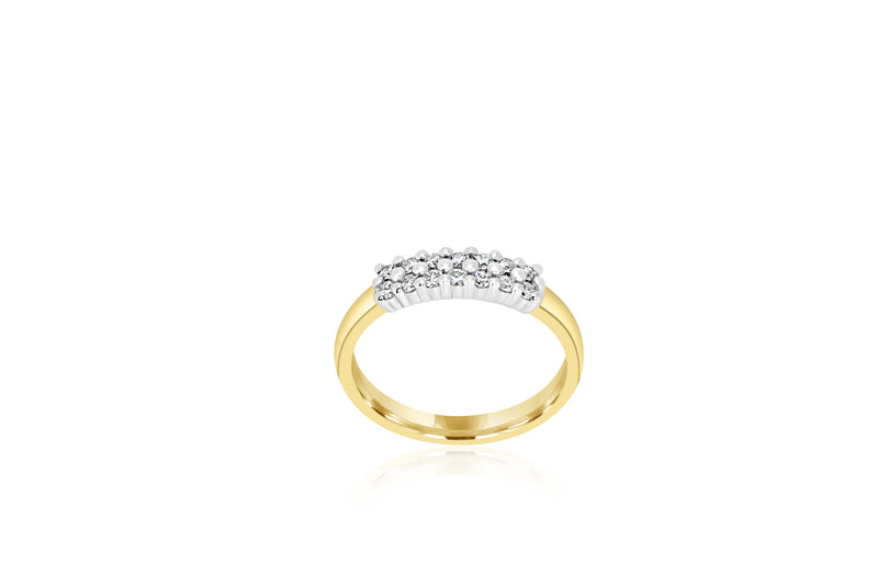 9k Yellow Gold & White Gold 2-tone 2-row Multi-stone Diamond Ring