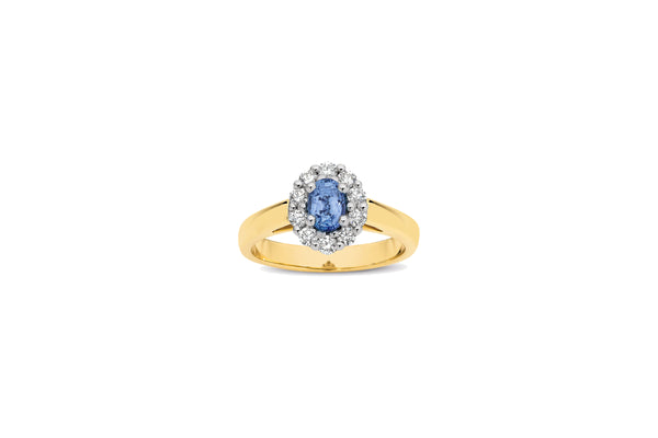 9ct Yellow Gold Ceylon Sapphire & Diamond Cluster Ring