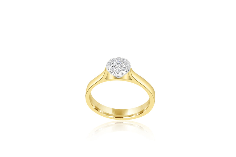 9k Yellow Gold Cluster Diamond Ring