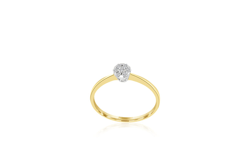 18k Yellow Gold  Cluster Diamond Ring