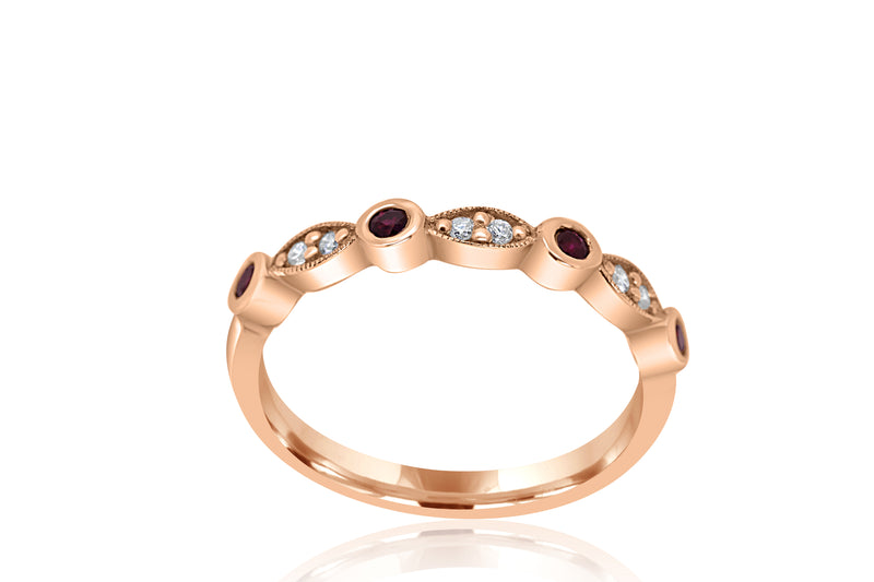 9k Rose Gold Ruby & Diamond Ring