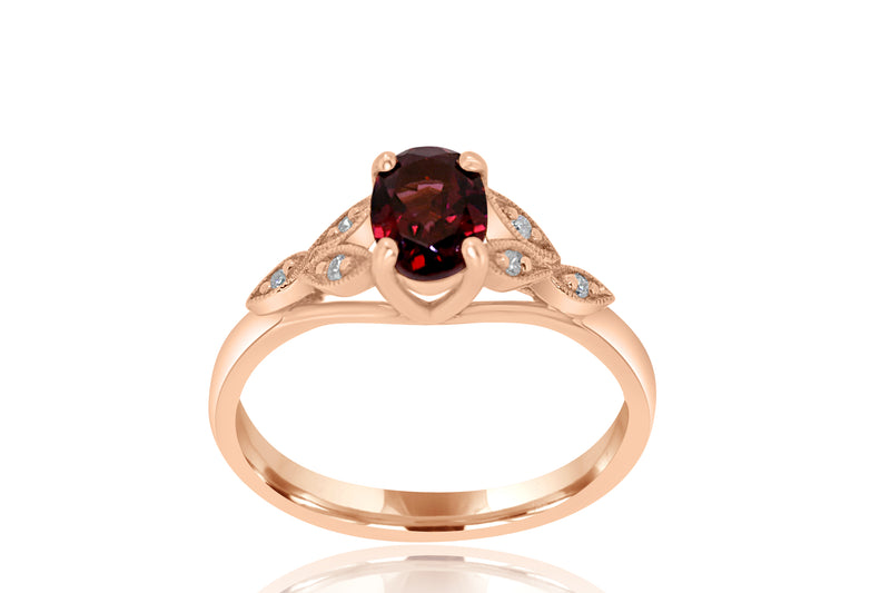 9k Rose Gold Diamond-Accented Garnet Ring